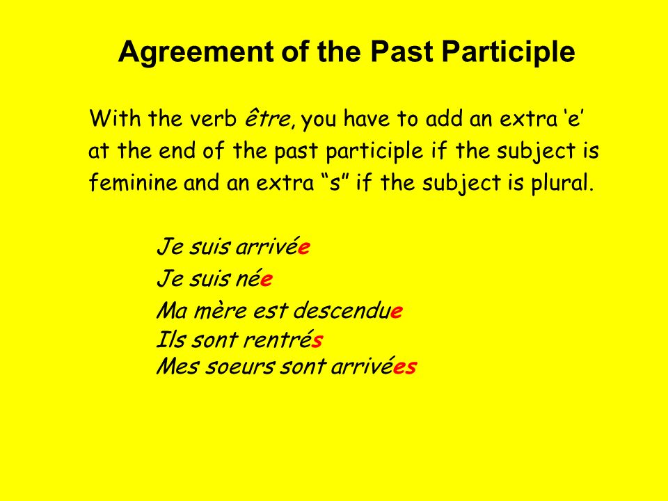 With the verb être, you have to add an extra e at the end of the past participle if the subject is feminine and an extra s if the subject is plural.