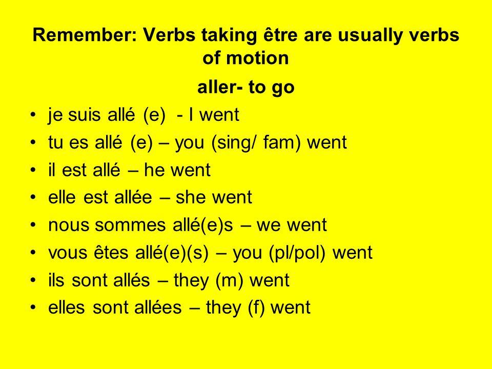 Remember: Verbs taking être are usually verbs of motion aller- to go je suis allé (e) - I went tu es allé (e) – you (sing/ fam) went il est allé – he