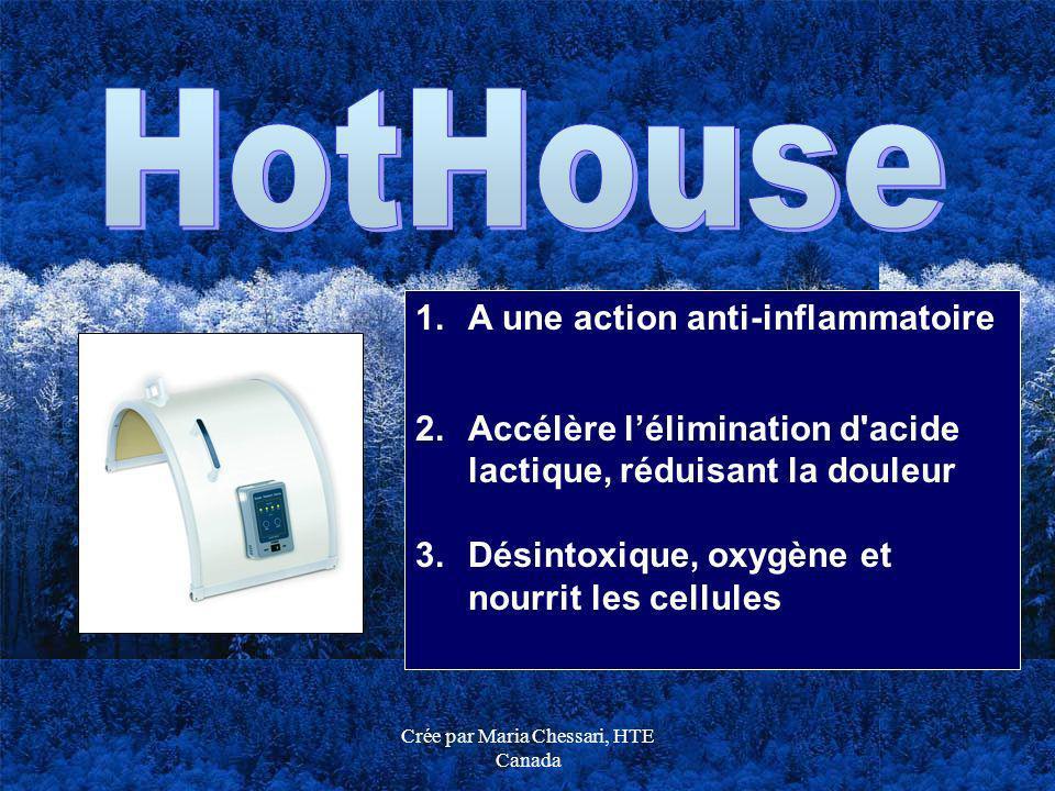 Crée par Maria Chessari, HTE Canada 1.A une action anti-inflammatoire 2.Accélère lélimination d'acide lactique, réduisant la douleur 3.Désintoxique, o