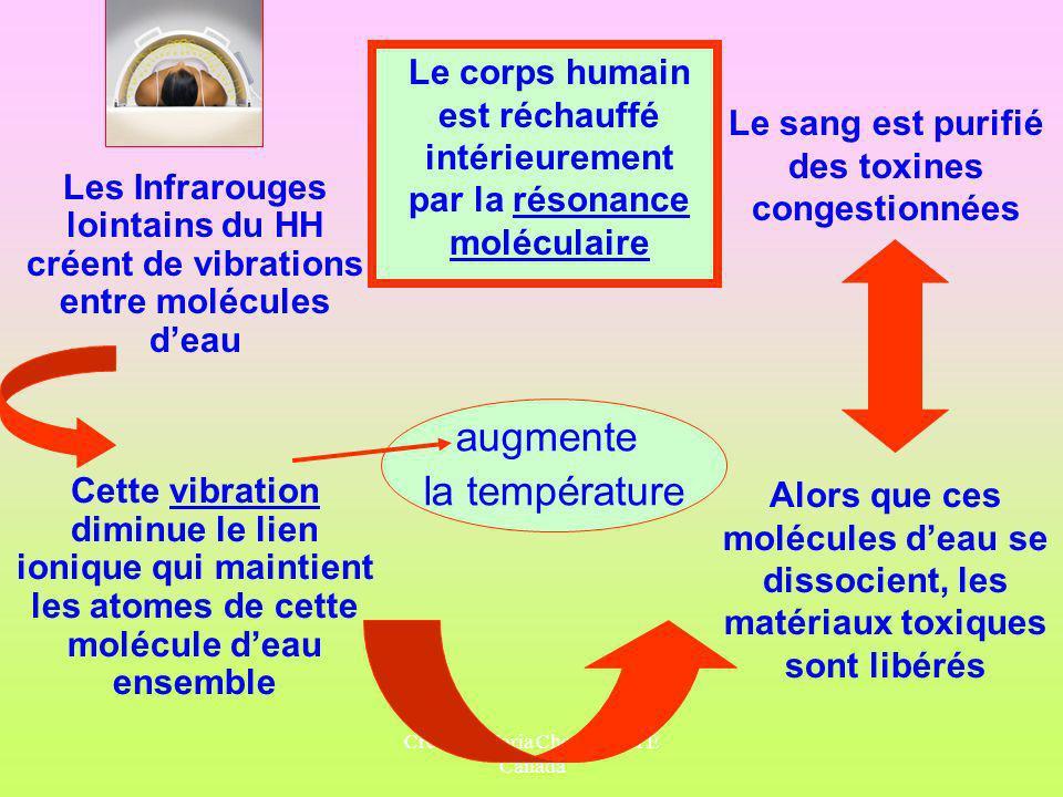 Crée par Maria Chessari, HTE Canada Les Infrarouges lointains du HH créent de vibrations entre molécules deau Le corps humain est réchauffé intérieure
