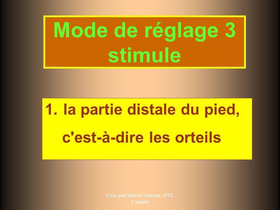 Crée par Maria Chessari, HTE Canada Mode de réglage 3 stimule 1. la partie distale du pied, c'est-à-dire les orteils