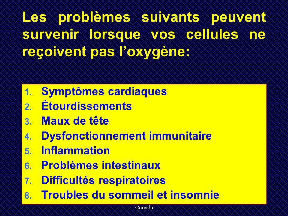 Crée par Maria Chessari, HTE Canada Les problèmes suivants peuvent survenir lorsque vos cellules ne reçoivent pas loxygène: 1. Symptômes cardiaques 2.