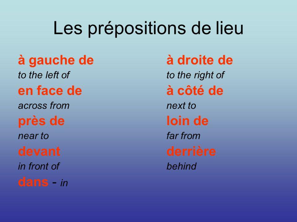 Les prépositions de lieu à gauche de à droite de to the left ofto the right of en face deà côté de across fromnext to près deloin de near tofar from d