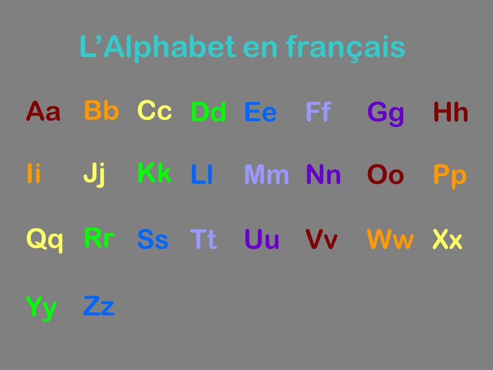 LAlphabet en français Aa BbCc DdEeFfGgHh Ii JjKk LlMmNnOoPp Qq Rr SsTtUuVvWwXx Yy Zz