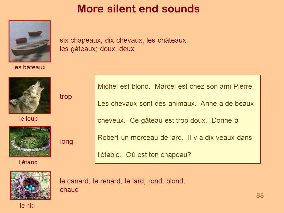 More silent end sounds les bâteaux le nid le loup létang six chapeaux, dix chevaux, les châteaux, les gâteaux; doux, deux le canard, le renard, le lar