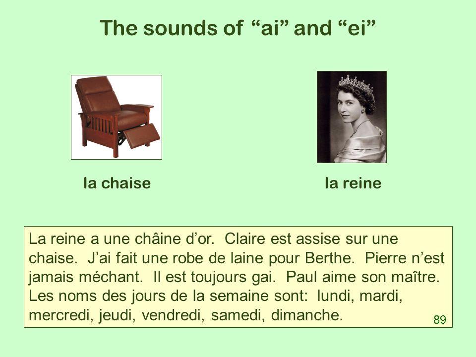 The sounds of ai and ei la chaisela reine La reine a une châine dor. Claire est assise sur une chaise. Jai fait une robe de laine pour Berthe. Pierre