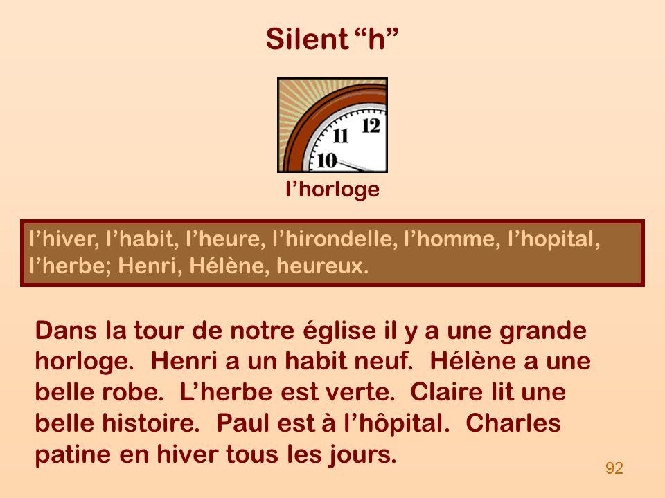 Silent h lhiver, lhabit, lheure, lhirondelle, lhomme, lhopital, lherbe; Henri, Hélène, heureux. lhorloge 92 Dans la tour de notre église il y a une gr
