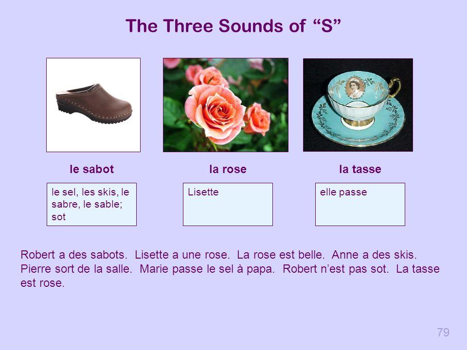 The Three Sounds of S le sel, les skis, le sabre, le sable; sot Lisetteelle passe Robert a des sabots. Lisette a une rose. La rose est belle. Anne a d