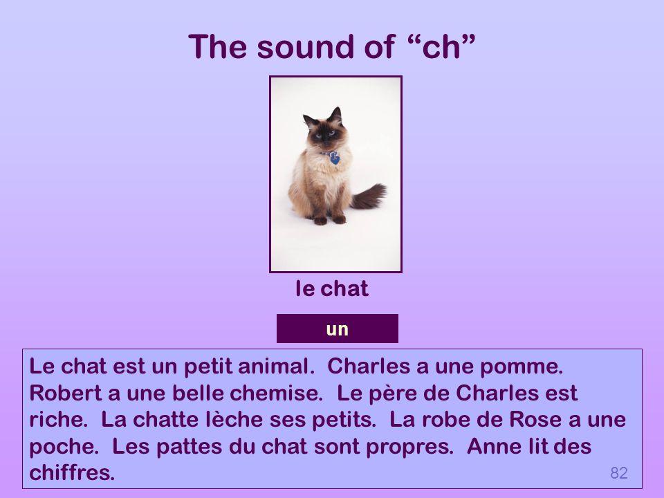 The sound of ch Le chat est un petit animal. Charles a une pomme. Robert a une belle chemise. Le père de Charles est riche. La chatte lèche ses petits