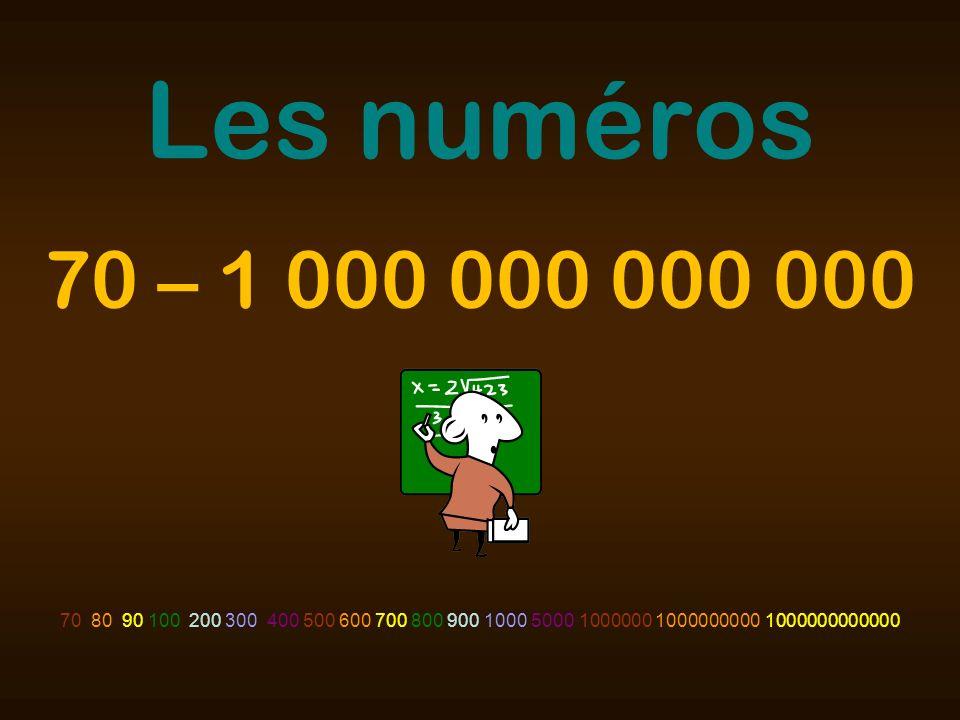Les numéros 70 80 90 100 200 300 400 500 600 700 800 900 1000 5000 1000000 1000000000 1000000000000 70 – 1 000 000 000 000