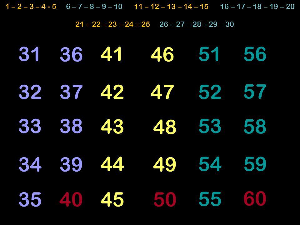 52 4636 4151 48 59 50 49 47 58 45 43 44 42 40 34 38 39 57 35 56 37 33 31 32 53 54 55 60 1 – 2 – 3 – 4 - 5 6 – 7 – 8 – 9 – 10 11 – 12 – 13 – 14 – 15 16 – 17 – 18 – 19 – 20 21 – 22 – 23 – 24 – 25 26 – 27 – 28 – 29 – 30