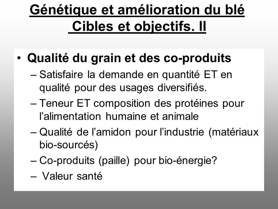 Génétique et amélioration du blé Cibles et objectifs. II Qualité du grain et des co-produits –Satisfaire la demande en quantité ET en qualité pour des