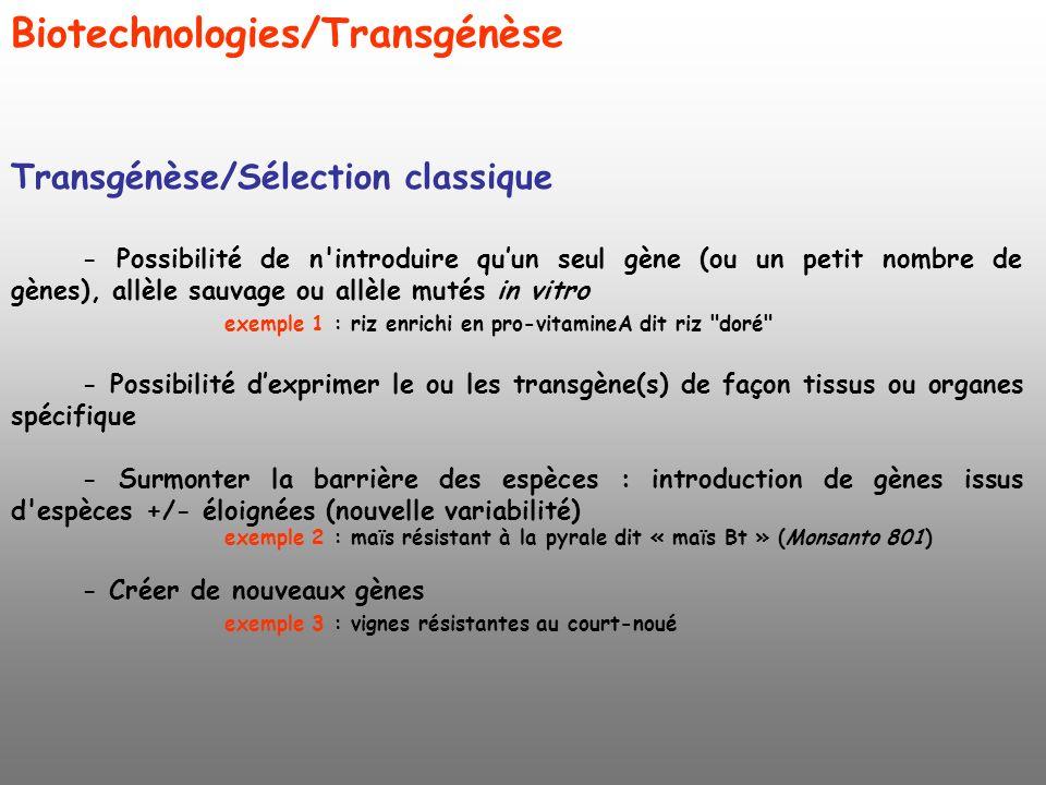 Biotechnologies/Transgénèse Transgénèse/Sélection classique - Possibilité de n'introduire quun seul gène (ou un petit nombre de gènes), allèle sauvage