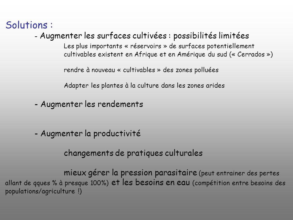 Solutions : - Augmenter les surfaces cultivées : possibilités limitées Les plus importants « réservoirs » de surfaces potentiellement cultivables exis