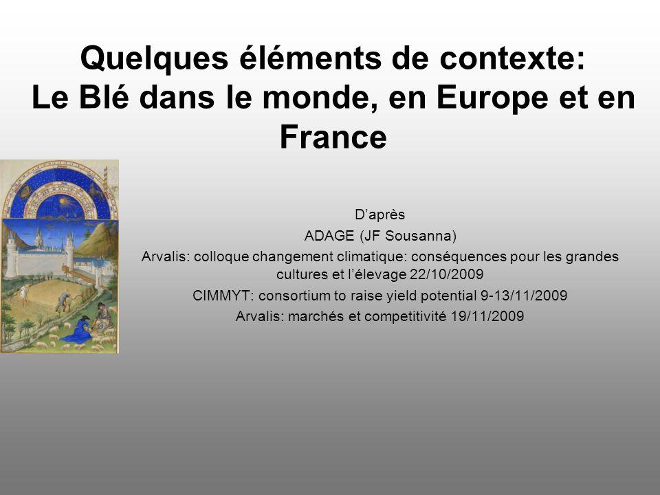 Quelques éléments de contexte: Le Blé dans le monde, en Europe et en France Daprès ADAGE (JF Sousanna) Arvalis: colloque changement climatique: conséq