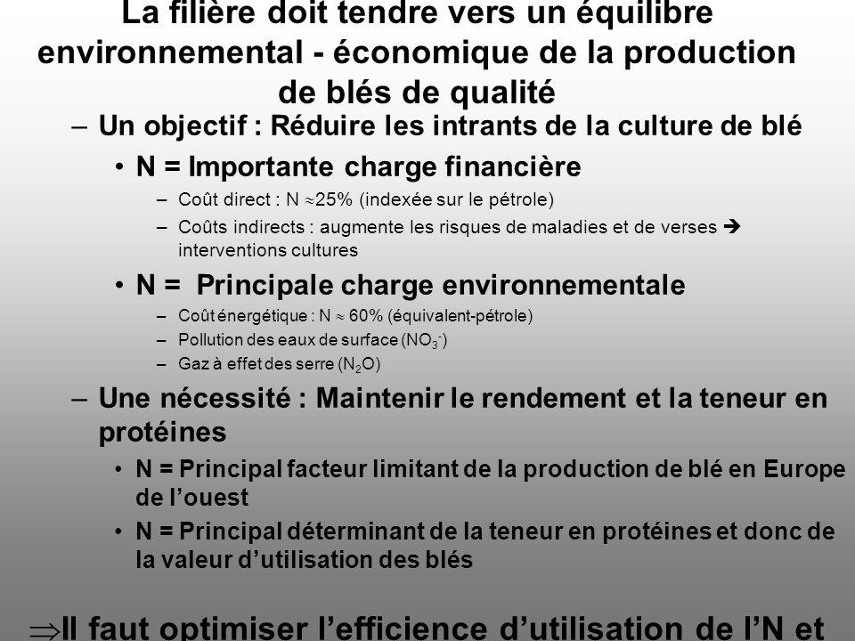 –Un objectif : Réduire les intrants de la culture de blé N = Importante charge financière –Coût direct : N 25% (indexée sur le pétrole) –Coûts indirec