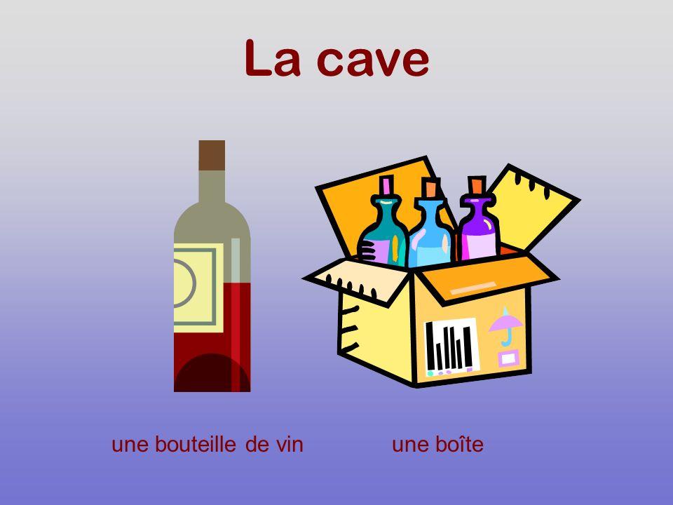 La cave une bouteille de vinune boîte