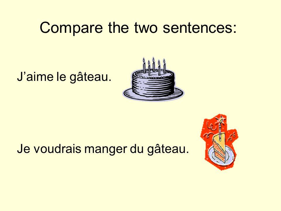 Compare the two sentences: Jaime le gâteau. Je voudrais manger du gâteau.