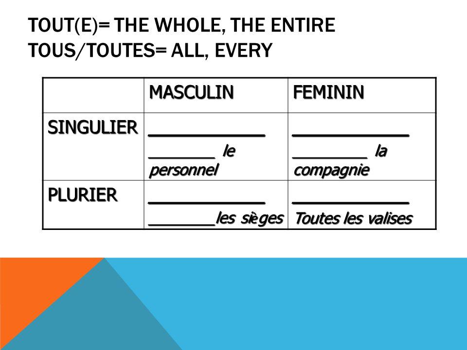 TOUT(E)= THE WHOLE, THE ENTIRE TOUS/TOUTES= ALL, EVERY MASCULINFEMININ SINGULIER__________ ________ le personnel __________ _________ la compagnie PLURIER__________ ________les si è ges __________ Toutes les valises