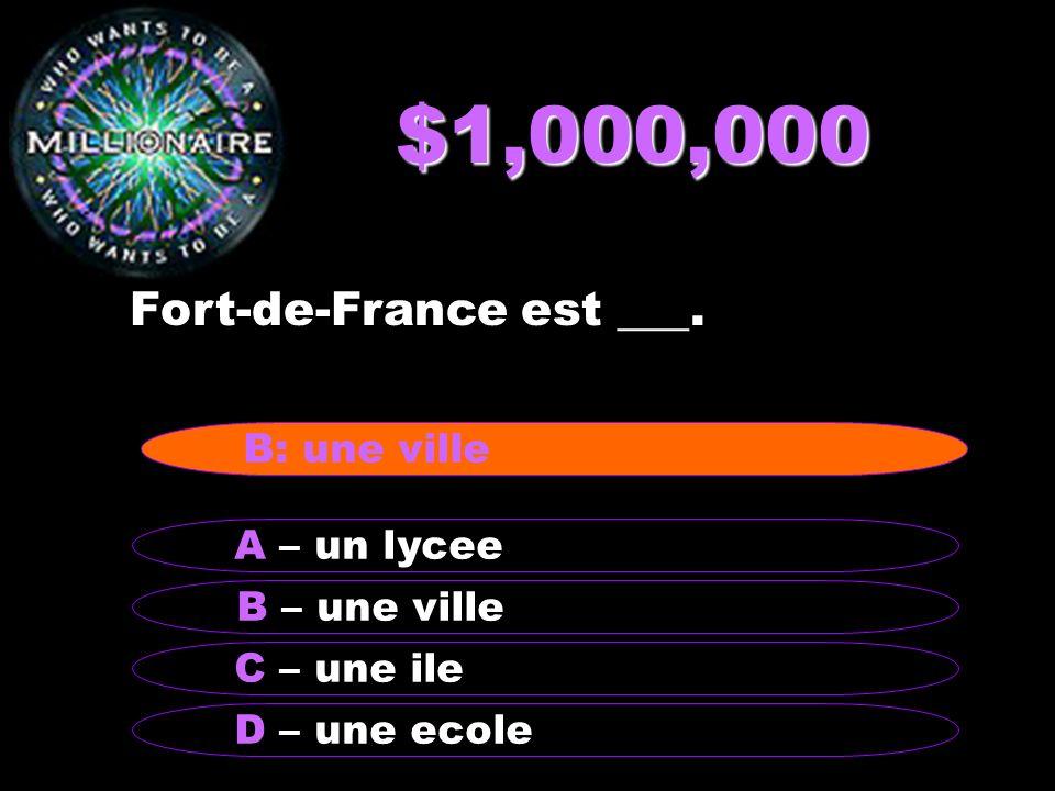 $1,000,000 Fort-de-France est ___. B – une ville A – un lycee C – une ile D – une ecole B: une ville