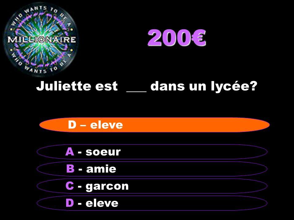 200 Juliette est ___ dans un lycée? B - amie A - soeur C - garcon D - eleve D – eleve