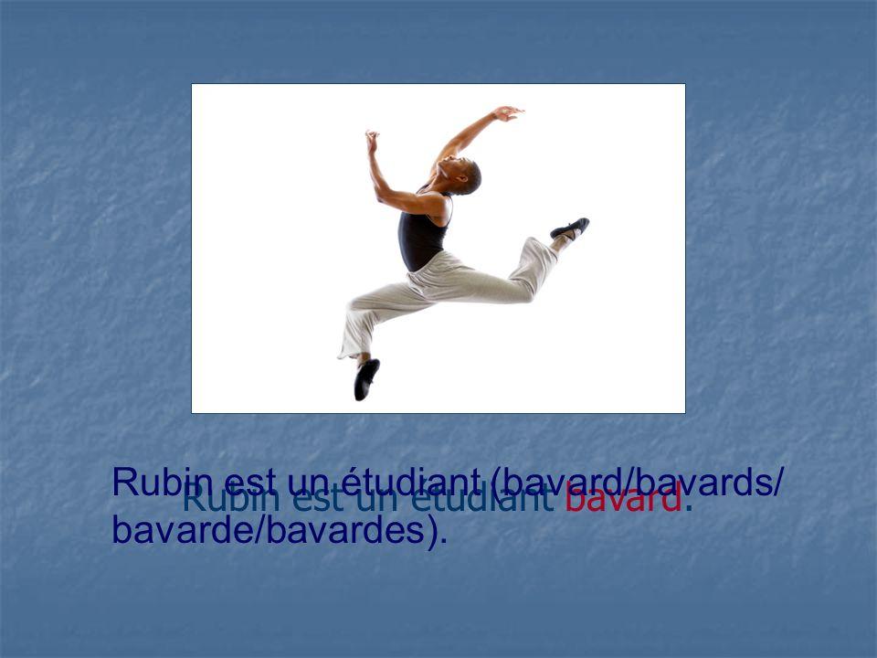 Rubin est un étudiant bavard. Rubin est un étudiant (bavard/bavards/ bavarde/bavardes).