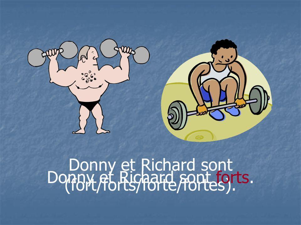 Donny et Richard sont (fort/forts/forte/fortes). Donny et Richard sont forts.