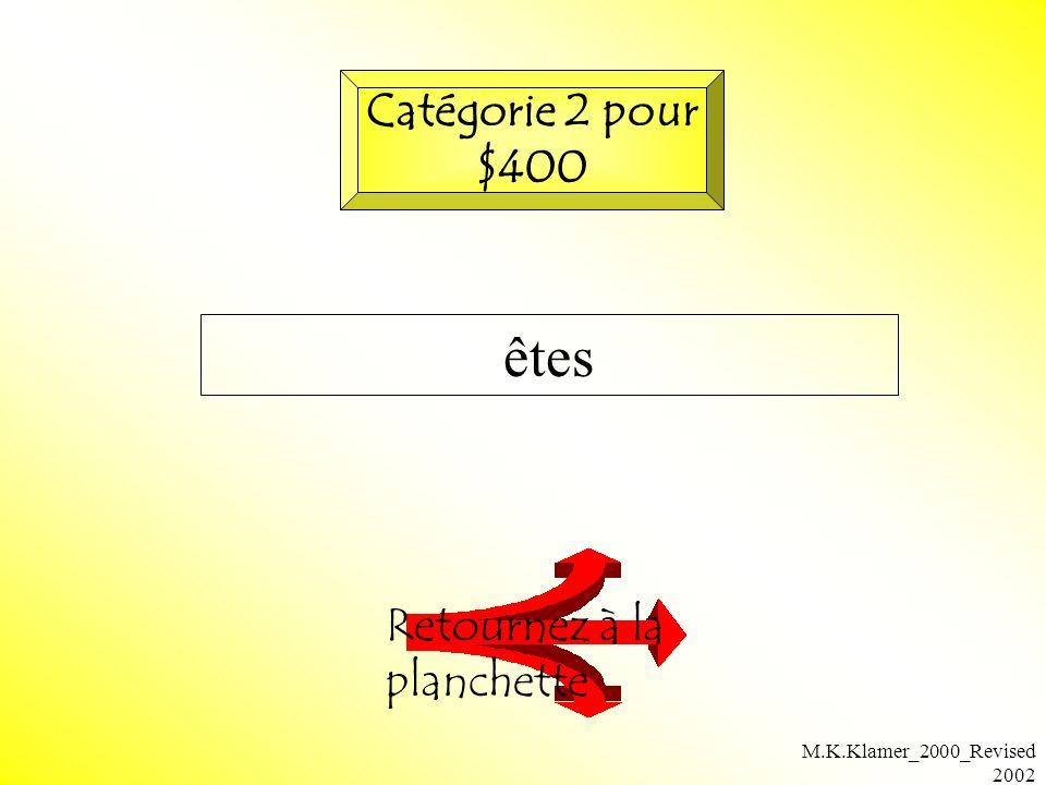 M.K.Klamer_2000_Revised 2002 êtes Retournez à la planchette Catégorie 2 pour $400