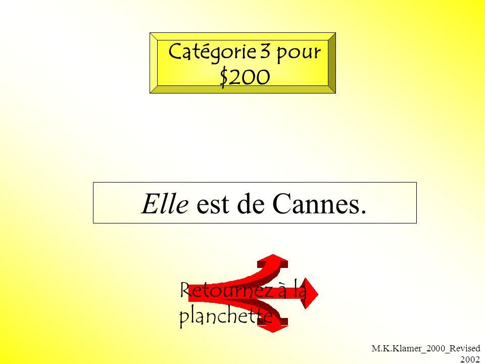 M.K.Klamer_2000_Revised 2002 Elle est de Cannes. Retournez à la planchette Catégorie 3 pour $200