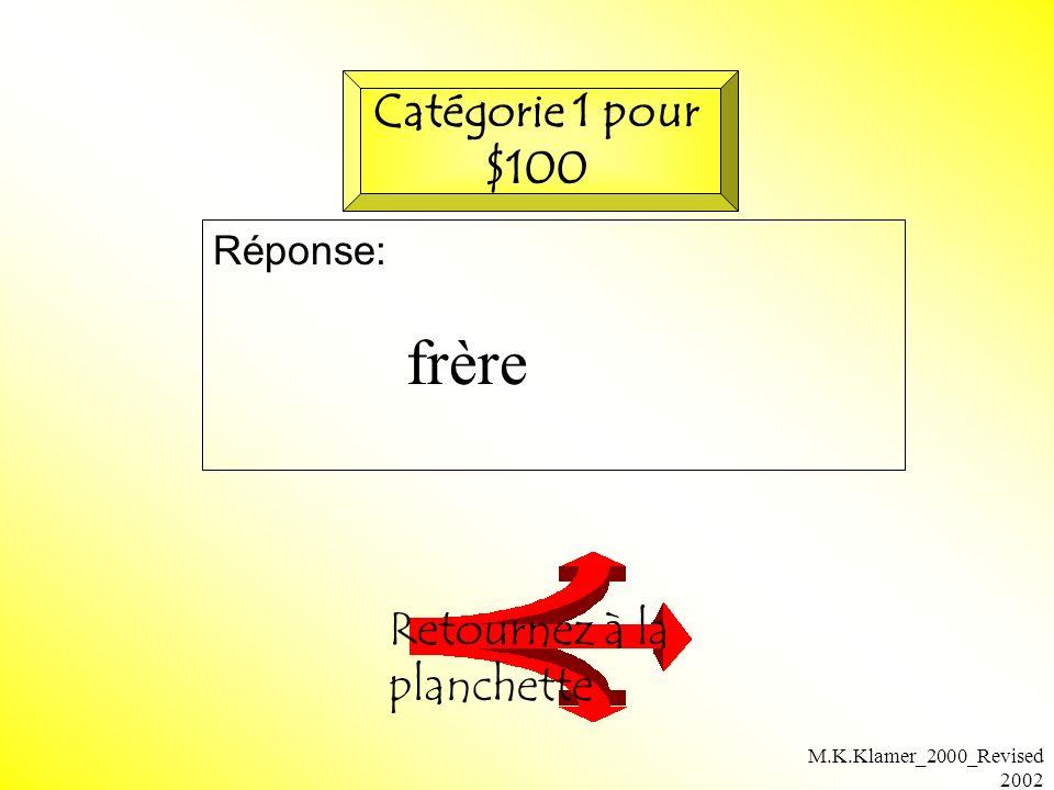 M.K.Klamer_2000_Revised 2002 Question: Vérifiez votre réponse Catégorie 2 pour $200 Il ________l ami de Christine