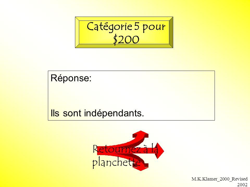 M.K.Klamer_2000_Revised 2002 Réponse: Ils sont indépendants. Retournez à la planchette Catégorie 5 pour $200