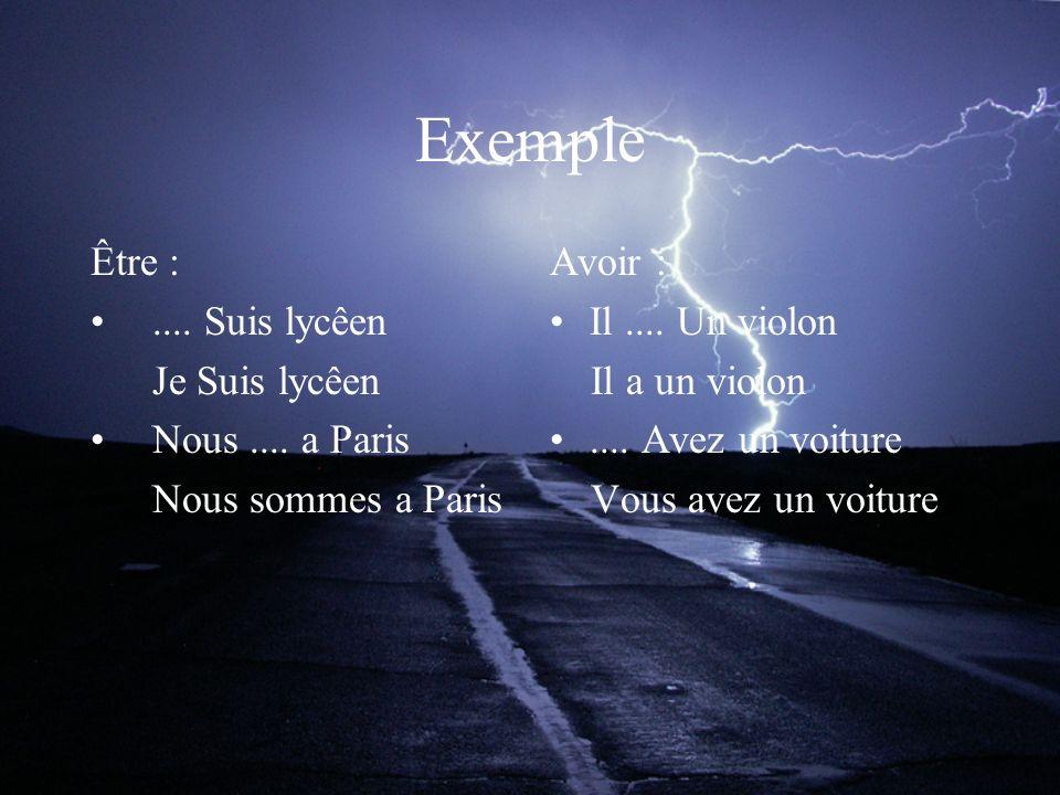 Exemple Être :.... Suis lycêen Je Suis lycêen Nous....