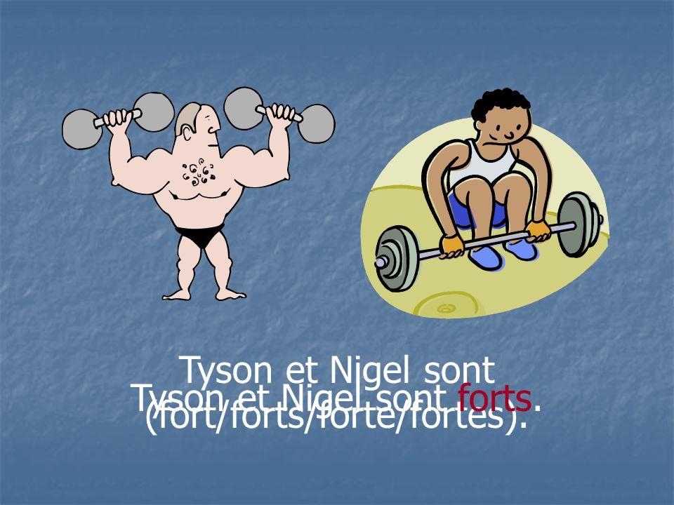 Tyson et Nigel sont (fort/forts/forte/fortes). Tyson et Nigel sont forts.