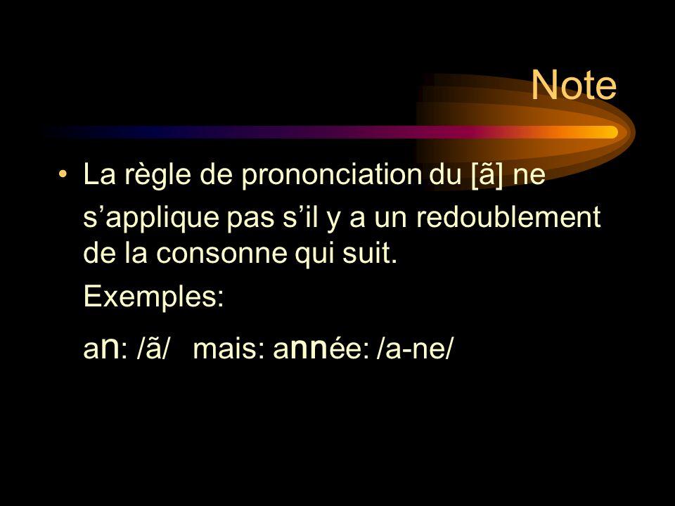 La nasale [ã]: exemples Danse:/dãs/ lampe: /lãp/ Enfant: /ã-fã/ lente: /lãt/ Entrer: /ã-tʀe/ tempête:/tã-p ε t/ Pamplemousse: /pã-plə-mus/