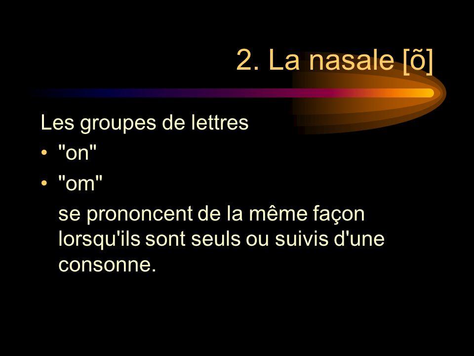 Note La règle de prononciation du [ã] ne sapplique pas sil y a un redoublement de la consonne qui suit. Exemples: a n : /ã/mais: a nn ée: /a-ne/