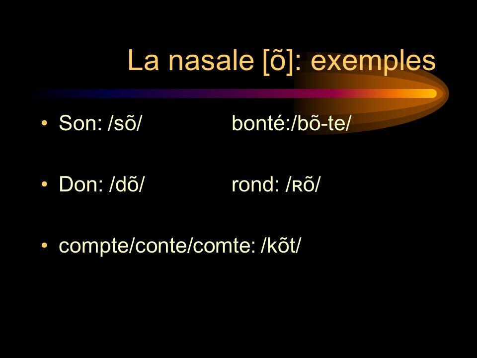 2. La nasale [õ] Les groupes de lettres