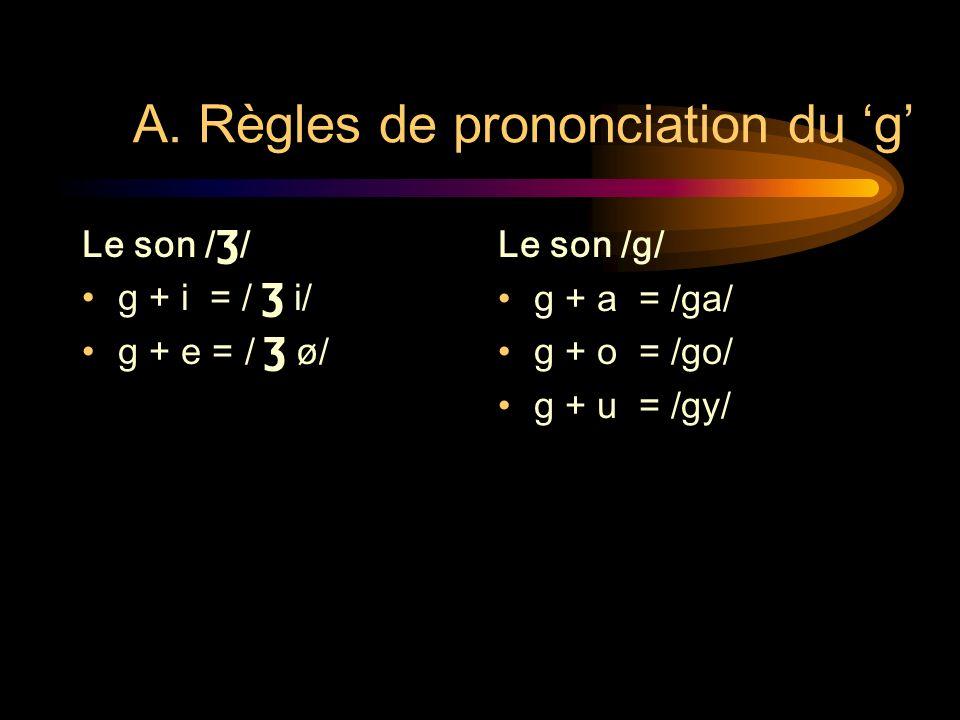 LEÇON 6: PRONONCIATION 1) de la consonne g 2) des nasales an et on