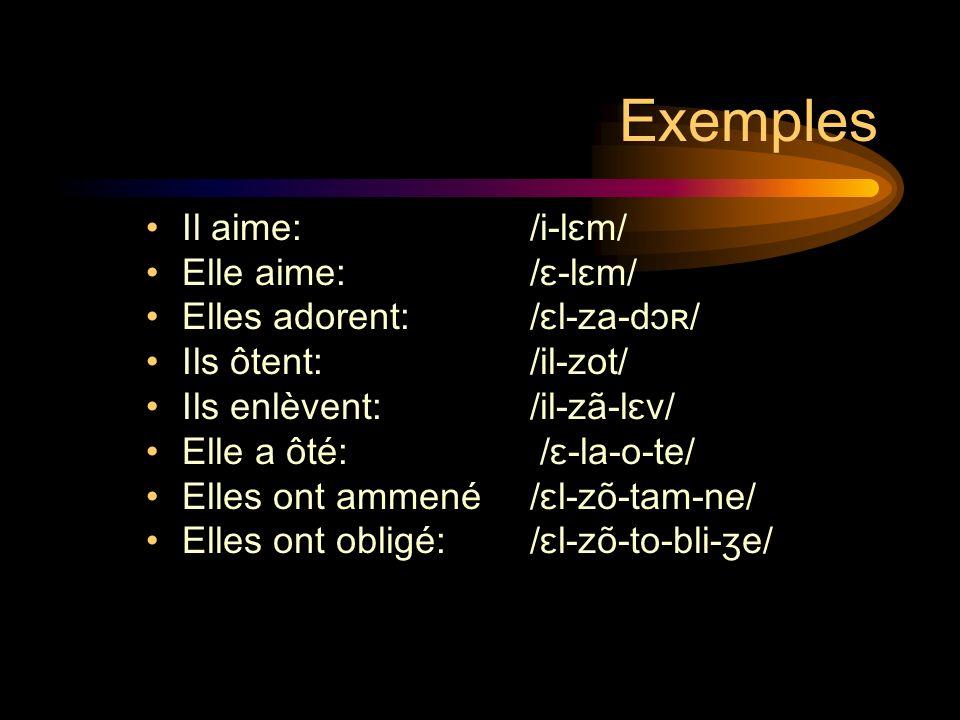 Exemples Il aime: /i-lɛm/ Elle aime:/ɛ-lɛm/ Elles adorent:/ɛl-za-dɔʀ/ Ils ôtent: /il-zot/ Ils enlèvent: /il-zã-lɛv/ Elle a ôté: /ɛ-la-o-te/ Elles ont ammené/ɛl-zõ-tam-ne/ Elles ont obligé:/ɛl-zõ-to-bli-ʒe/