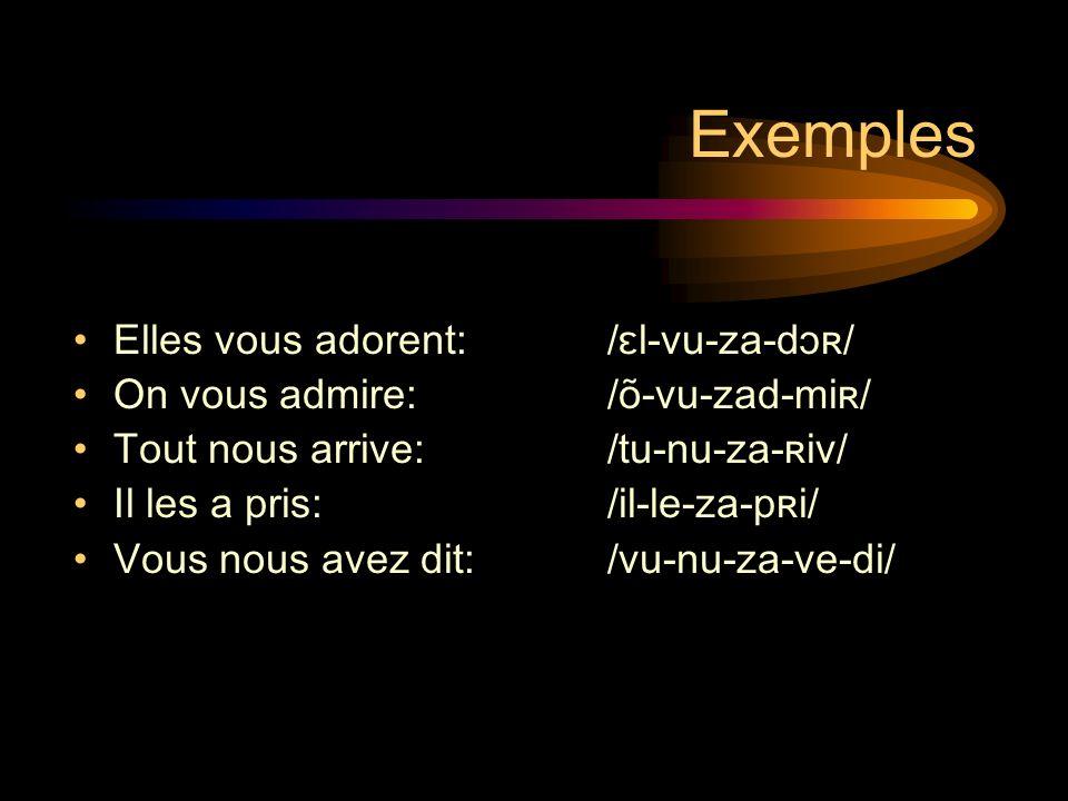 Exemples Elles vous adorent:/ɛl-vu-za-dɔʀ/ On vous admire: /õ-vu-zad-miʀ/ Tout nous arrive: /tu-nu-za-ʀiv/ Il les a pris: /il-le-za-pʀi/ Vous nous avez dit: /vu-nu-za-ve-di/