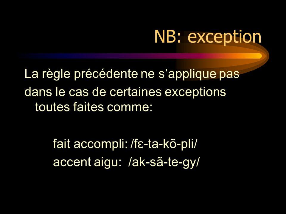 NB: exception La règle précédente ne sapplique pas dans le cas de certaines exceptions toutes faites comme: fait accompli: /fɛ-ta-kõ-pli/ accent aigu: /ak-sã-te-gy/