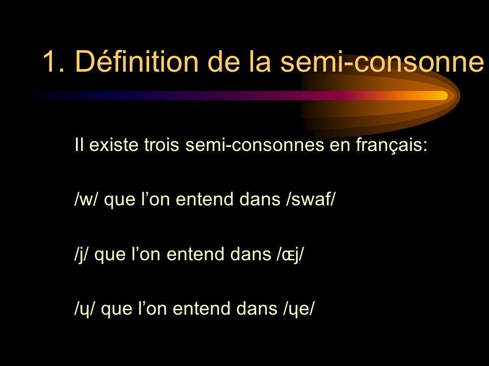 1. Définition de la semi-consonne Il existe trois semi-consonnes en français: /w/ que lon entend dans /swaf/ /j/ que lon entend dans /ɶj/ /ɥ/ que lon