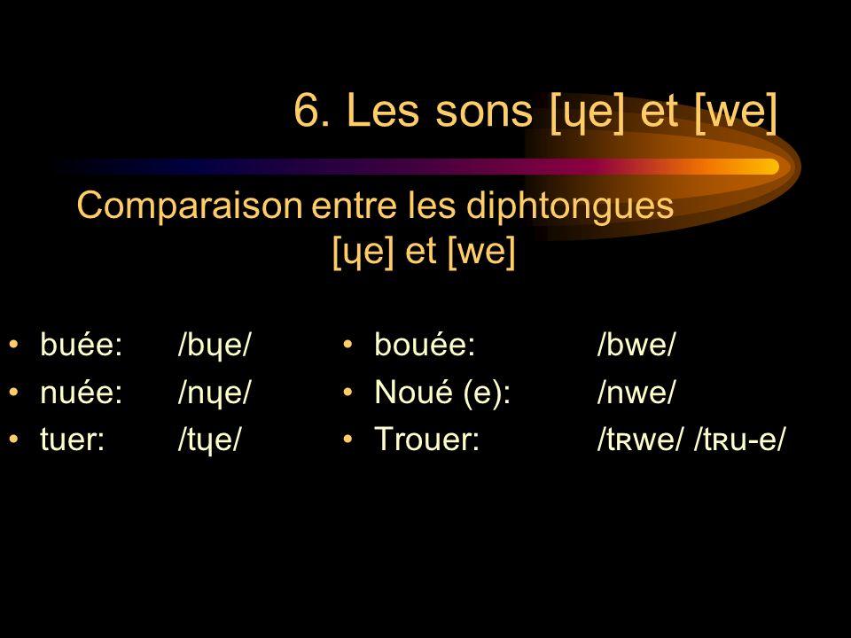 6. Les sons [ɥe] et [we] buée: /bɥe/ nuée: /nɥe/ tuer: /tɥe/ bouée: /bwe/ Noué (e): /nwe/ Trouer: /tʀwe/ /tʀu-e/ Comparaison entre les diphtongues [ɥe