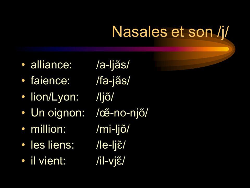 Nasales et son /j/ alliance: /a-ljãs/ faience:/fa-jãs/ lion/Lyon:/ljõ/ Un oignon:/œ̃-no-njõ/ million: /mi-ljõ/ les liens:/le-ljɛ̃/ il vient:/il-vjɛ̃/