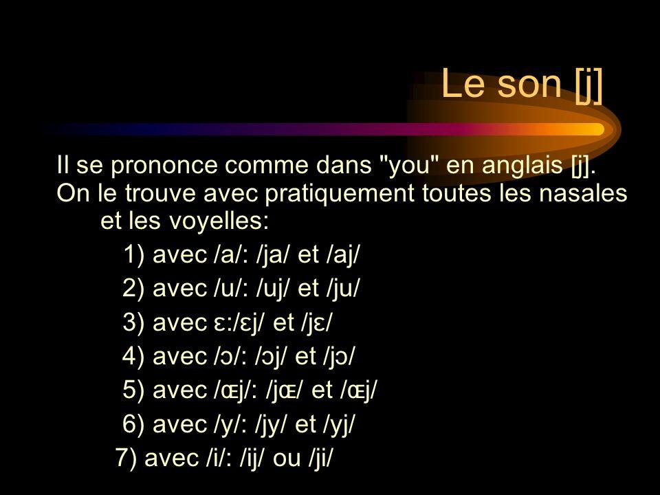 Les sons /ja/ et /aj/ paille: /paj/ vaille:/vaj/ maille: /maj/ voyage:/vwa-jaʒ/ alliage:/a-ljaʒ travail: /tʀa-vaj/ milliard: /mi-ljaʀ/