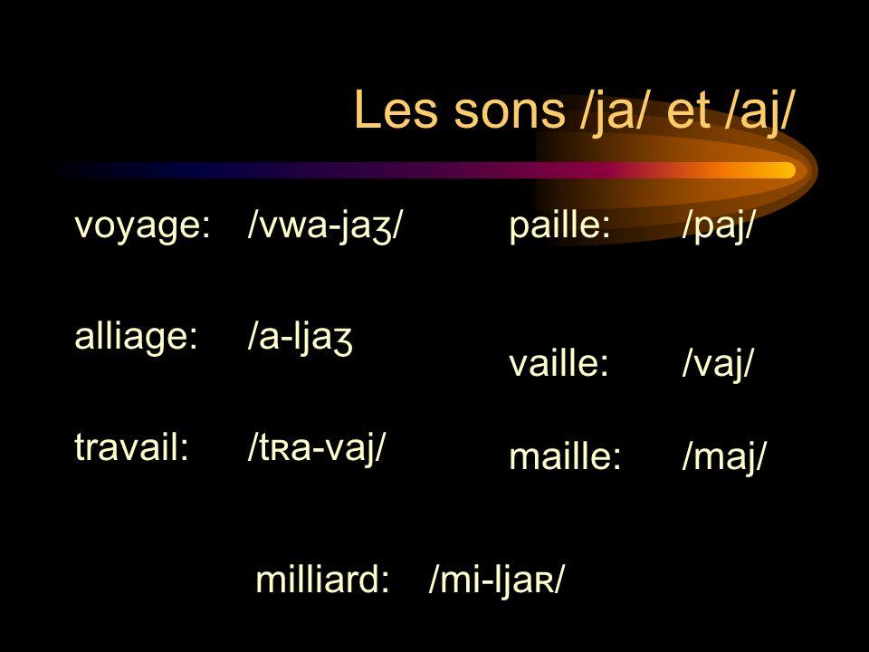Les sons /ja/ et /aj/ Avec le verbe avoir à limparfait: Il y avait:/il-ja-vɛ/ yavait un vitrail:/ja-vɛ-œ̃-vi-tʀaj/ Il navait pas dail:/il-nja-vɛ-pa-daj/ Yavait pas de corail: /ja-vɛ-pad-ko-ʀaj/
