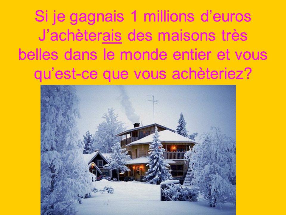 Si je gagnais 1 millions deuros Jachèterais des maisons très belles dans le monde entier et vous quest-ce que vous achèteriez?