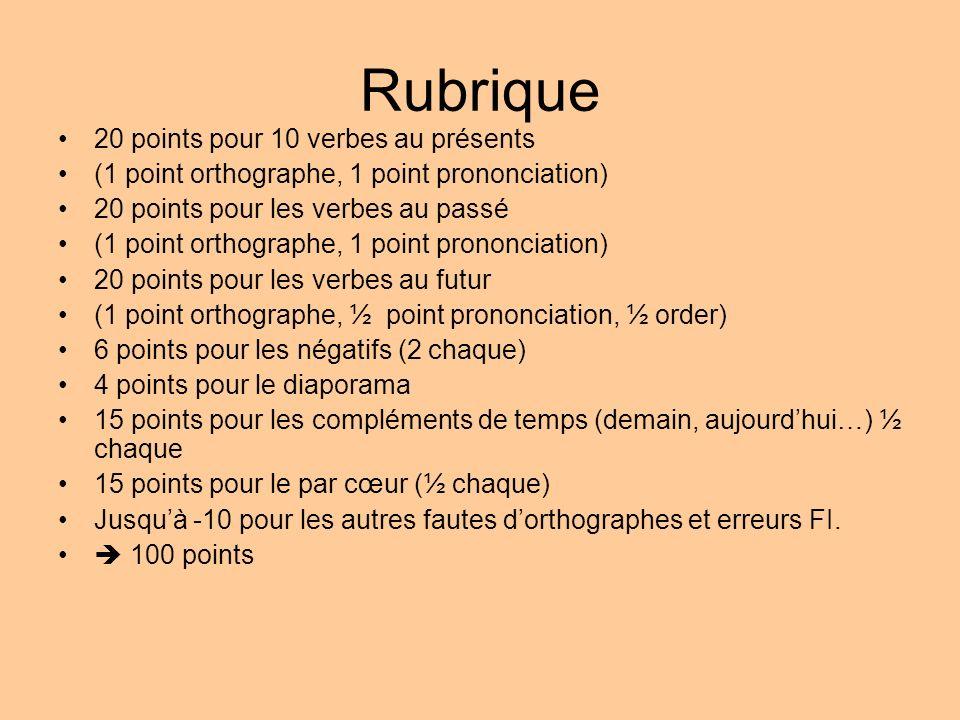 Rubrique 20 points pour 10 verbes au présents (1 point orthographe, 1 point prononciation) 20 points pour les verbes au passé (1 point orthographe, 1