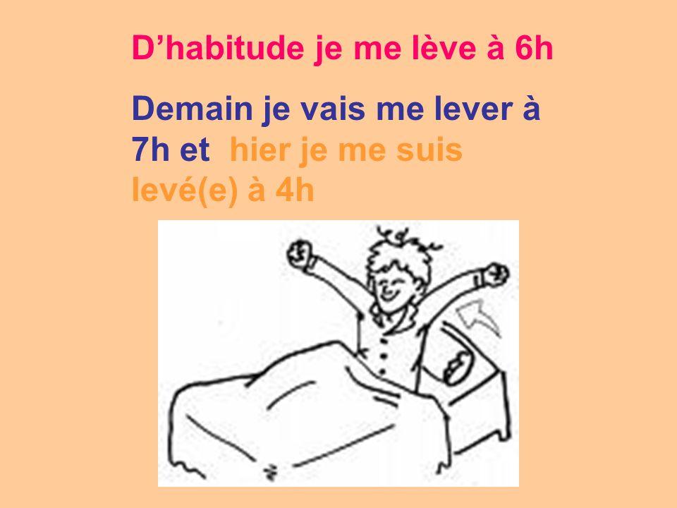 Dhabitude je me lève à 6h Demain je vais me lever à 7h et hier je me suis levé(e) à 4h