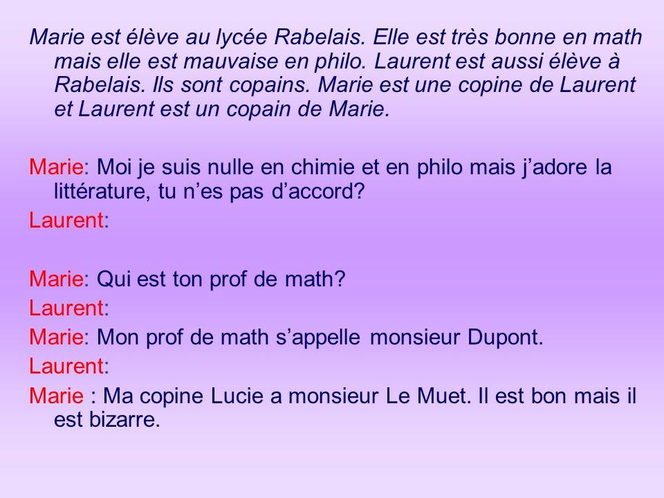 Marie est élève au lycée Rabelais. Elle est très bonne en math mais elle est mauvaise en philo. Laurent est aussi élève à Rabelais. Ils sont copains.