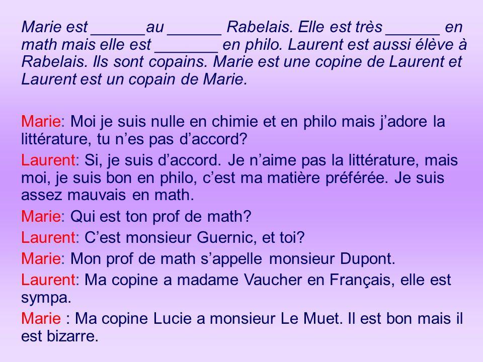 Marie est ______au ______ Rabelais. Elle est très ______ en math mais elle est _______ en philo. Laurent est aussi élève à Rabelais. Ils sont copains.